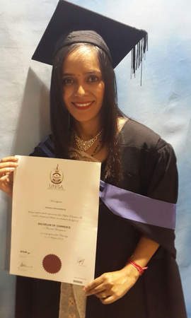 Rigana Employee Nirisha Dhanishwar Receives her Bachelor of Commerce