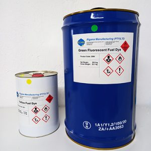 Cans Of Green And Yellow Fluorescent Fuel Dye